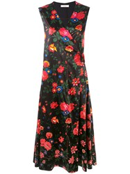 Celine Vintage Floral Print Dress Women Silk Vegetable Fibres 38 Black