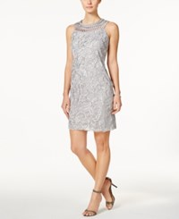 Jessica Howard Crochet Shift Dress Silver
