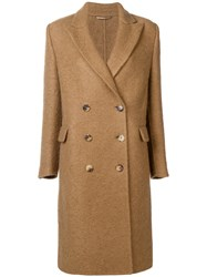Ermanno Scervino Double Breasted Coat Brown