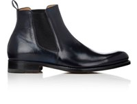Bruno Famiglietti Men's Burnished Leather Chelsea Boots Navy