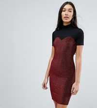 Noisy May Tall High Neck Mesh Top Glitter Bodycon Dress Red Black