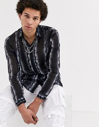 Jaded London Barbed Wire Print Shirt In Black