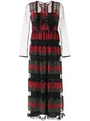 Red Valentino Floral Panels Long Dress Black