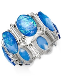 Style And Co. Silver Tone Blue Oval Foil Bracelet