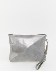 Urbancode Metallic Silver Real Leather Clutch With Wrist Strap Silver Grey