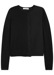 Schumacher Black Silk Trimmed Wool Blend Cardigan