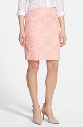 Halogen Welt Pocket Pencil Skirt Regular And Petite Coral Majestic Pattern