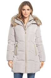 Women's Michael Michael Kors Faux Fur Trim Hooded Down And Feather Fill Coat With Inset Bib