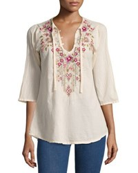 Johnny Was Fabio Embroidered Blouse Blush
