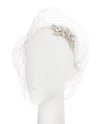 Jennifer Behr Isabelle Voilette Headband With Veil Cream Ivory Crystal Cream Crystal