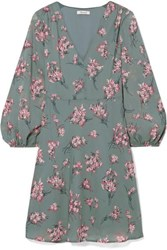 Madewell Tiered Floral Print Voile Mini Dress Green