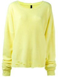 Unravel Project Distressed Trim Jumper Yellow Orange