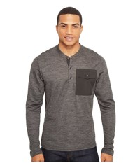 Nau Randygoat Lite Henley Top Caviar Heather 1 Men's Long Sleeve Pullover Gray