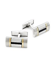 Hickey Freeman Two Tone Rectangle Cufflinks Gold