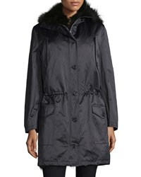 Michael Michael Kors Button Front Anorak Jacket W Fur Hood Black Women's