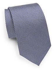 Saks Fifth Avenue Cone Patterned Silk Tie Blue