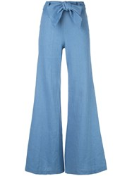 Alexis Belted Flared Jeans Blue