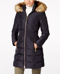 Laundry By Shelli Segal Faux Fur Trim Puffer Coat Mystic Blue