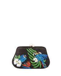 Rafe Rosie Small Straw Clutch Bag With Parrots Black