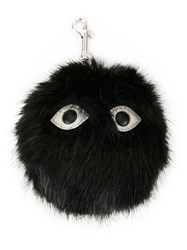Stella Mccartney Fuzzy Eyes Keyring Black