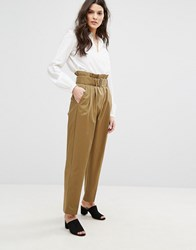 Mango Highwaist Utility Trousers Khaki Brown
