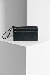 Silence And Noise Silence Noise Tri Zip Wristlet Pouch Black