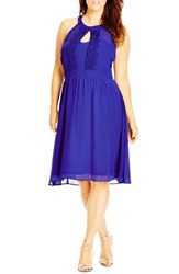 City Chic Plus Size Women's 'Summer Lace' Fit And Flare Dress