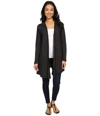 Allen Allen Stripe Hooded Cardigan Black Women's Sweater