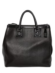 Dolce And Gabbana Double Zip Grained Leather Shopping Bag