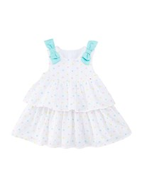 Mayoral Embroidered Dots Tiered Dress W Bows Size 2 12 Months Multi Pattern