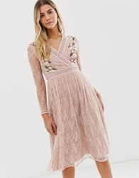 Frock And Frill Prairie Lace Midi Dress With Embroidered Wrap Front In Soft Rose Pink