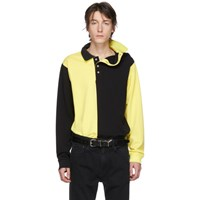 Y Project Black And Yellow Asymmetric Collar Polo
