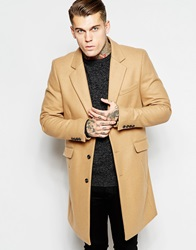 Asos Wool Overcoat In Camel
