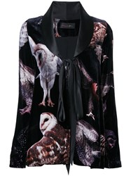 Romance Was Born 'Bird Of Prey' Velvet Jacket Women Silk Viscose 10 Black