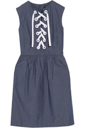 Raoul Ember Lace Up Cotton Mini Dress Blue
