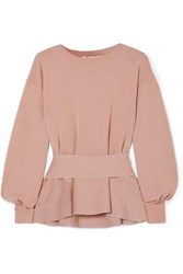 Agnona Wool Peplum Top Blush
