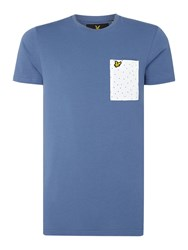 Lyle And Scott Men's Minimal Dot Pocket Crew Neck Short Sleeve T Shirt Blue