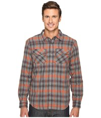 Prana Asylum Flannel Fireball Men's Long Sleeve Button Up Orange