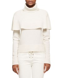 Chloe Cashmere Capelet Turtleneck Sweater White