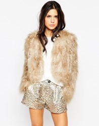 Traffic People Bolero Faux Fur Jacket Feathergrey