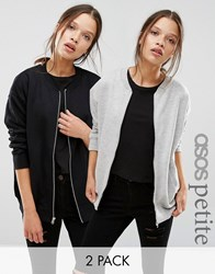 Asos Petite The Ultimate Bomber Jacket In Jersey 2 Pack Black Grey Multi