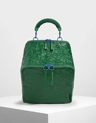 Charles And Keith Rope Handle Wrinkled Effect Patent Backpack Green