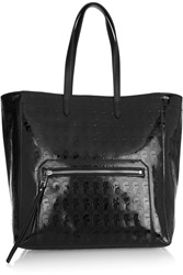 Karl Lagerfeld Kache Leather Trimmed Embossed Pvc Tote Black