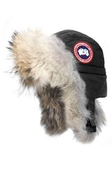 Canada Goose Women's Down Fill Aviator Hat With Genuine Coyote Fur Trim Black