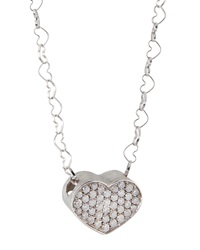 Nanis Large Pave Ice Diamond Heart Necklace