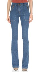 Veronica Beard Patch Pocket Skinny Flare Jeans 70'S Wash