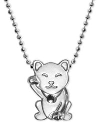 Alex Woo Lucky Cat Pendant Necklace In Sterling Silver