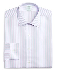 Brooks Brothers Non Iron Stripe Milano Regular Fit Dress Shirt 100 Bloomingdale's Exclusive Pink Lt Blue