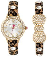 Betsey Johnson Women's Brown Leopard Printed Imitation Leather Strap Watch And Bangle Bracelet Set 30Mm Bj00536 39 Gold