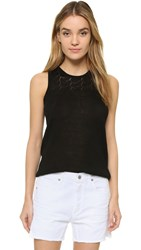 Three Dots Lexi Pointelle Linen Tank Black